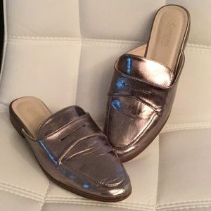 Brushed silver slide on mules